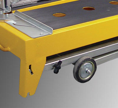 Four integrated legs allow the saw to be easily deployed at the job site, while a pair of wheels facilitate transportation.