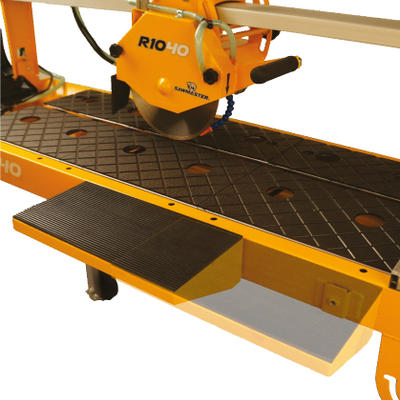 Two position extension table, on both sides, provides optimal support when cutting either straight or angled cuts.