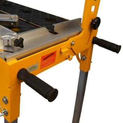 CAN MOUNT UP TO FOUR HEAVY DUTY REMOVABLE LIFTING HANDLE AND HAS FOUR COLLAPSIBLE LEGS MAKE MOVING THE SAW EASY WHILE MAINTAINING A SMALL FRAME FOOTPRINT.