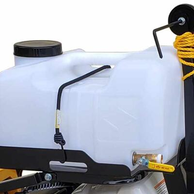 8 GALLON WATER TANK ALLOWS THE USER TO BE MOBILE FREE FROM A WATER HOSE WHILE STILL PROVIDING A CONSTANT FLOW OF WATER TO THE BLADE FOR EFFICIENT DRY CUTTING.